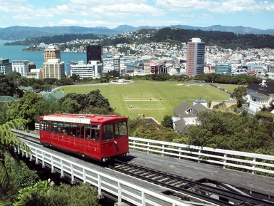 A Wellington Cable Car ascends to Kelburn and the Botanical Gardens which overlook the CBD and Wellington Harbour
